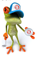 Frog playing golf